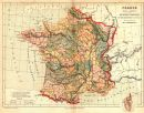 FRANCE: Divisions comparatives Anciennes provinces Départements Actuels;1880 map